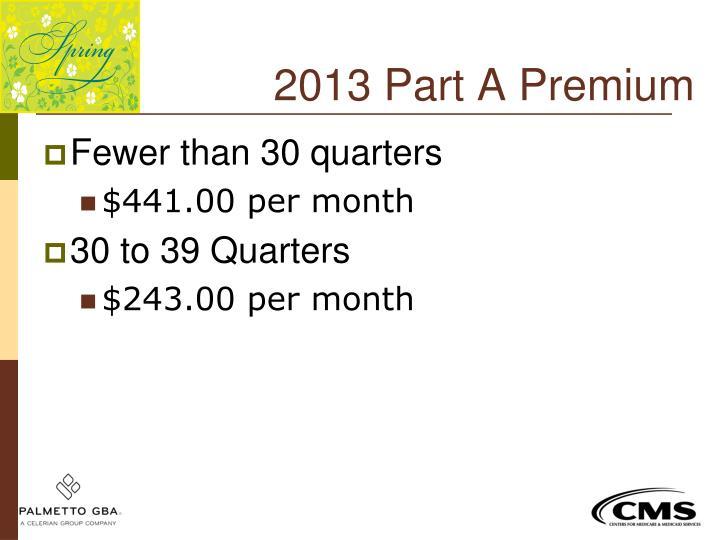 2013 Part A Premium