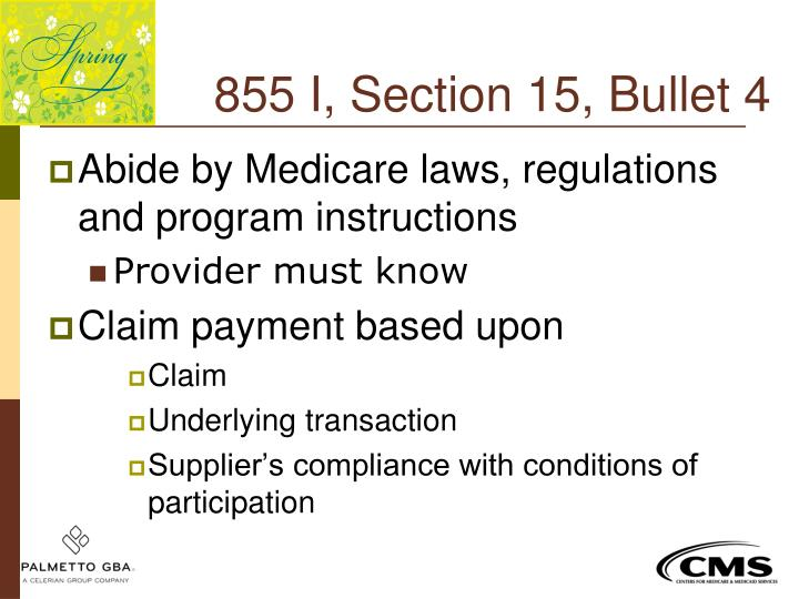 855 I, Section 15, Bullet 4