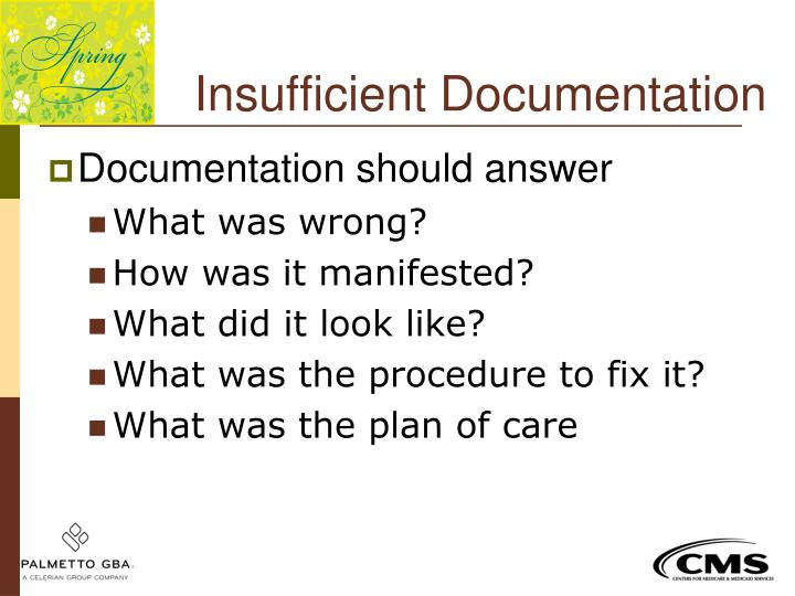 Insufficient Documentation