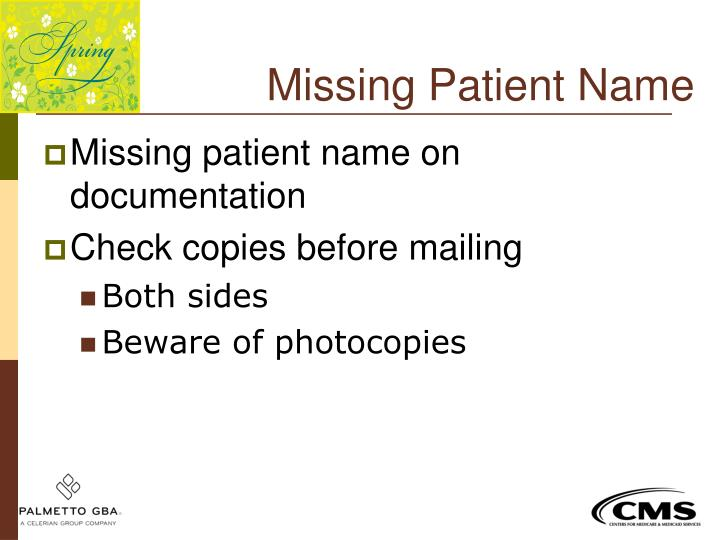 Missing Patient Name