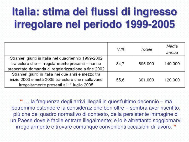 Italia: stima dei flussi di ingresso irregolare nel periodo 1999-2005