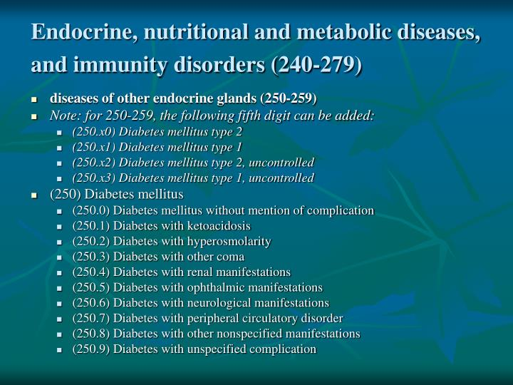 Endocrine, nutritional and metabolic diseases, and immunity disorders (240-279)