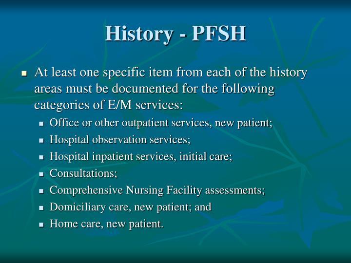 History - PFSH