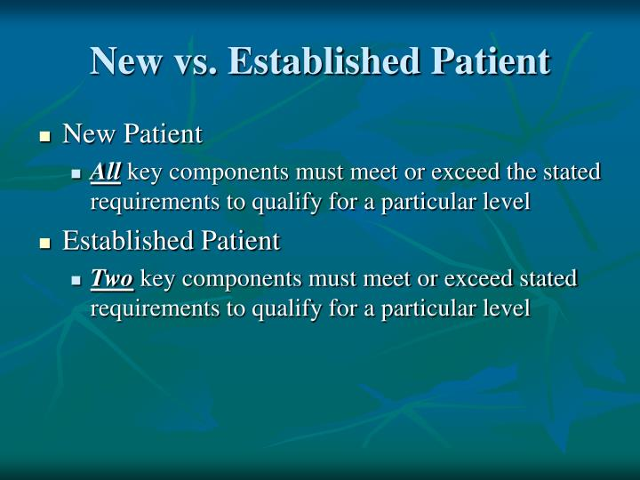 New vs. Established Patient