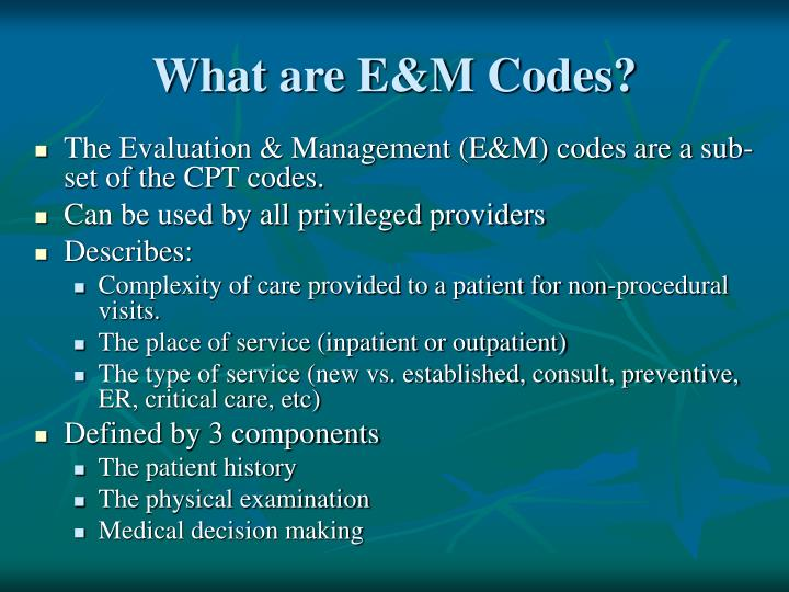 What are E&M Codes?