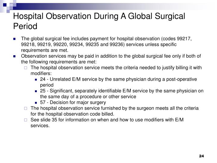Hospital Observation During A Global Surgical Period
