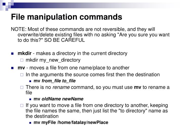 File manipulation commands