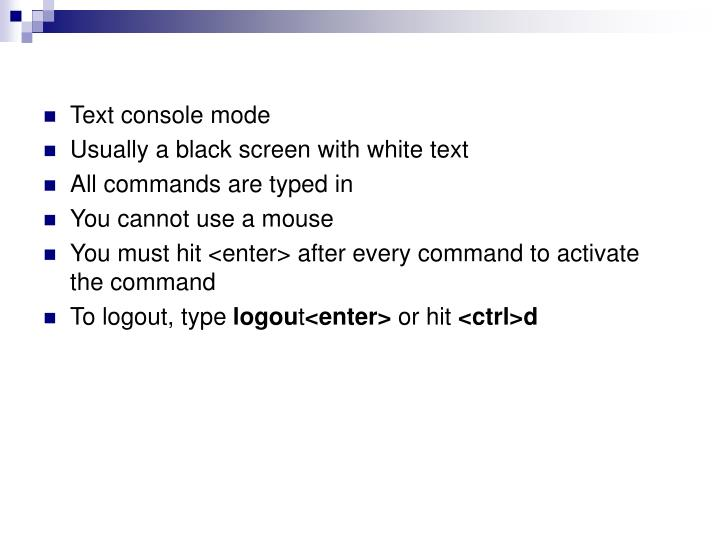 Text console mode