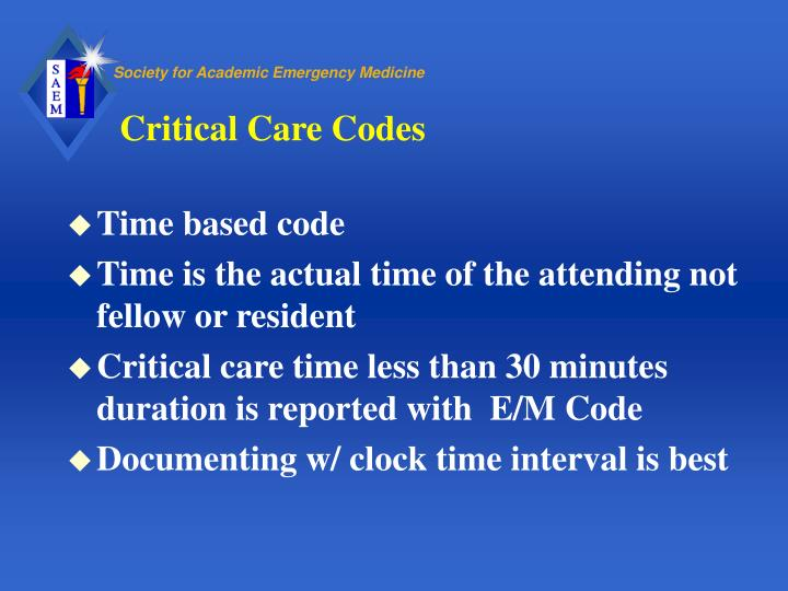 Critical Care Codes