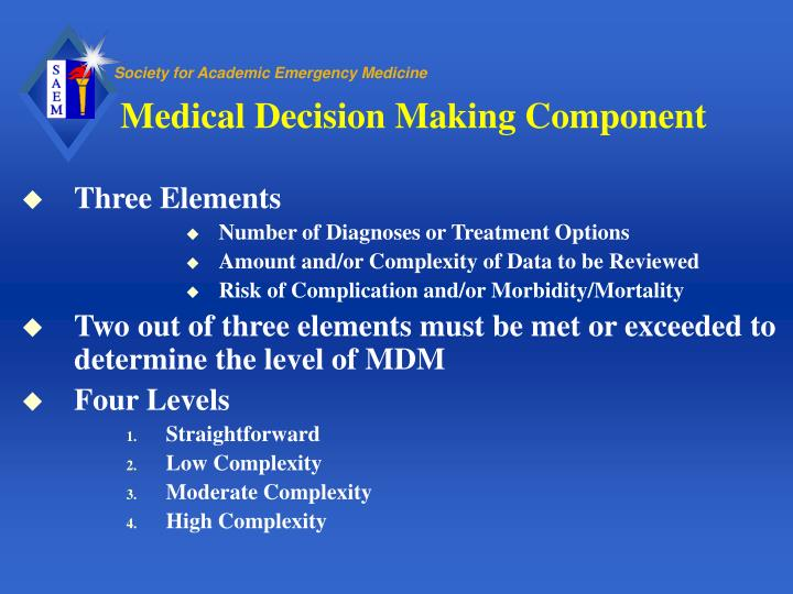 Medical Decision Making Component