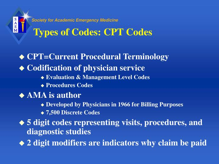 Types of codes cpt codes