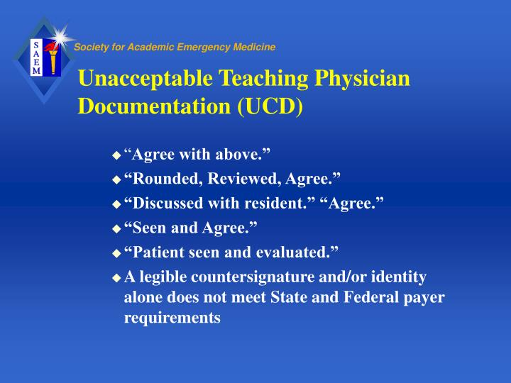 Unacceptable Teaching Physician Documentation (UCD)