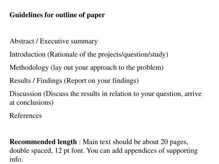 Guidelines for outline of paper