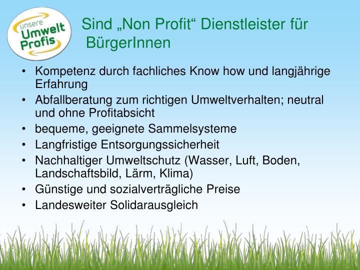 """Sind """"Non Profit"""" Dienstleister für"""