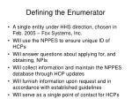 defining the enumerator