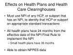 effects on health plans and health care clearinghouses