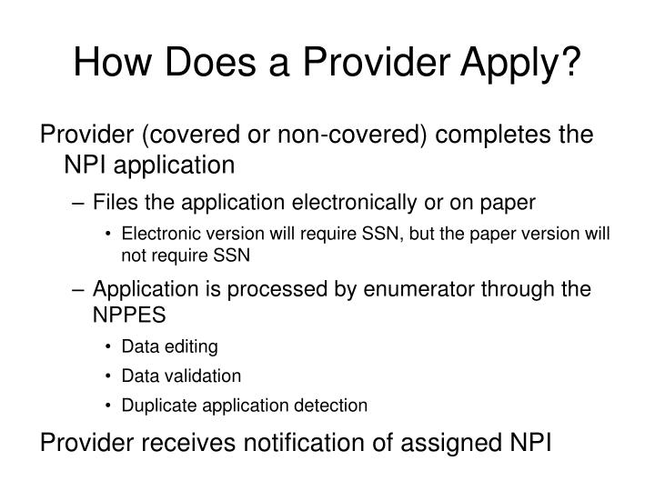 How Does a Provider Apply?