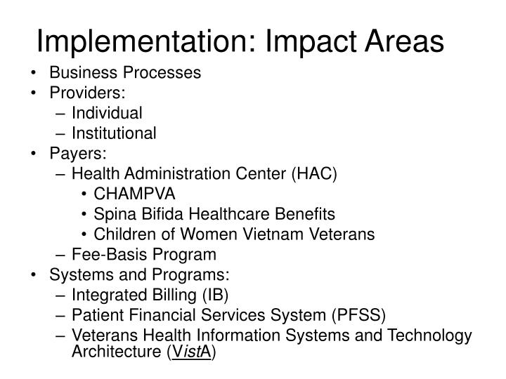 Implementation: Impact Areas