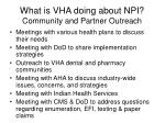 what is vha doing about npi community and partner outreach