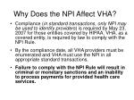 why does the npi affect vha