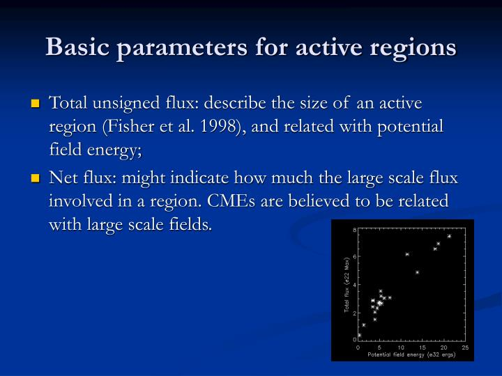Basic parameters for active regions