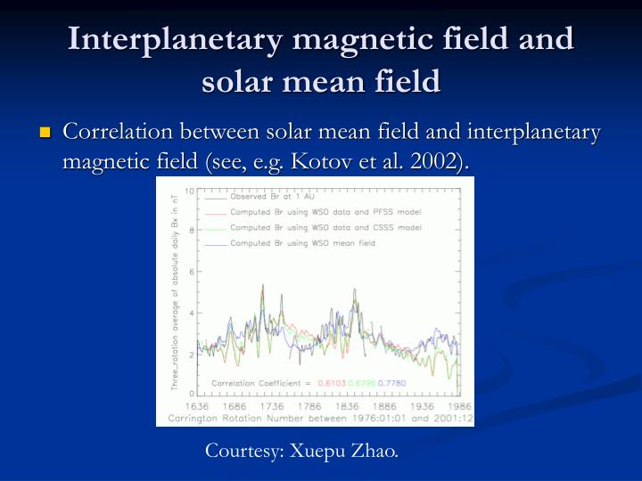 Interplanetary magnetic field and solar mean field