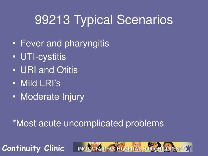 99213 Typical Scenarios