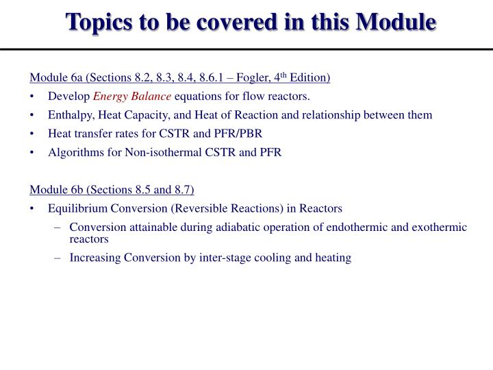 Topics to be covered in this module