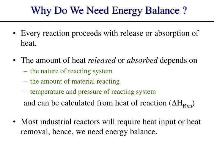 Why do we need energy balance