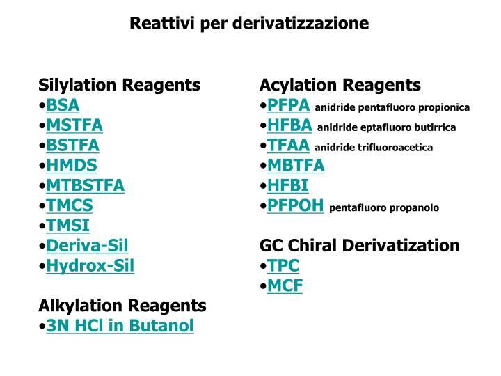 Reattivi per derivatizzazione
