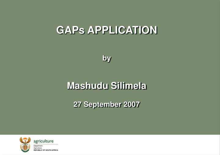 GAPs APPLICATION