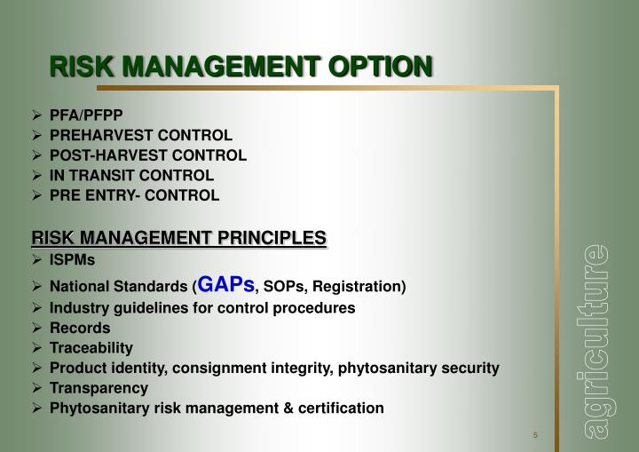 RISK MANAGEMENT OPTION