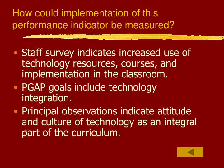 How could implementation of this performance indicator be measured?