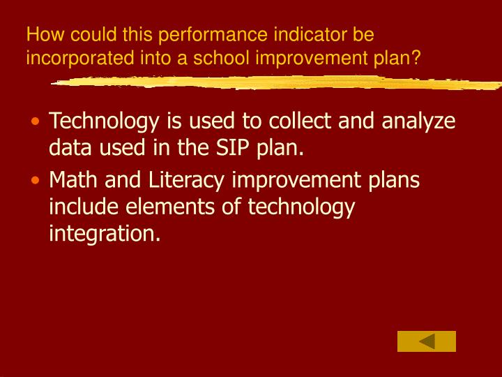 How could this performance indicator be incorporated into a school improvement plan?