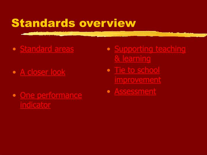 Standards overview