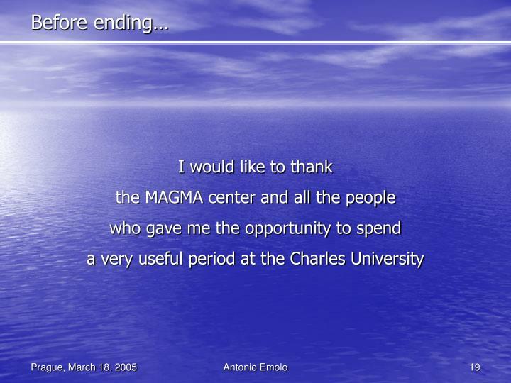 Before ending…