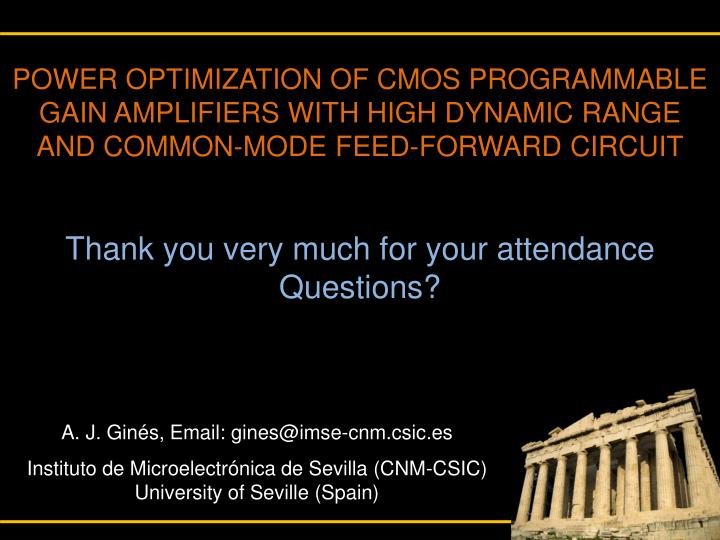 POWER OPTIMIZATION OF CMOS PROGRAMMABLE GAIN AMPLIFIERS WITH HIGH DYNAMIC RANGE AND COMMON-MODE FEED-FORWARD CIRCUIT