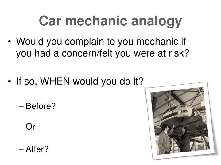 Car mechanic analogy