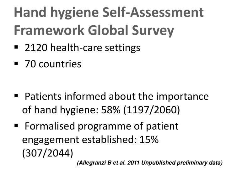 Hand hygiene Self-Assessment Framework Global Survey