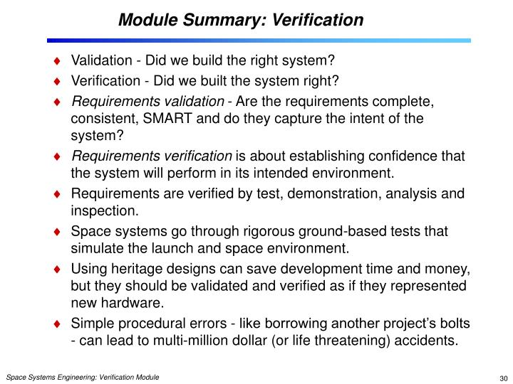Module Summary: Verification