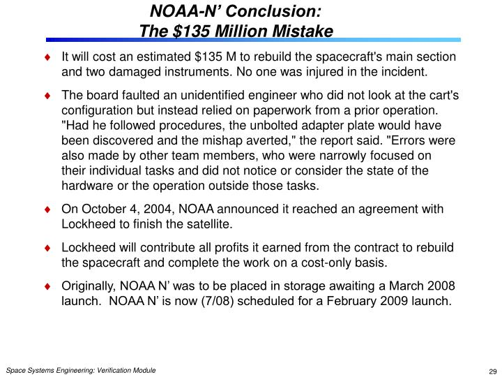 NOAA-N' Conclusion: