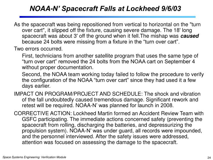 NOAA-N' Spacecraft Falls at Lockheed 9/6/03