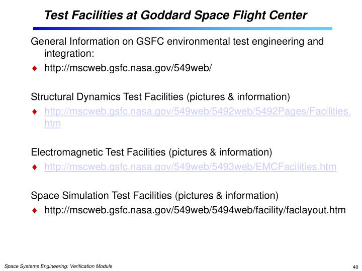 Test Facilities at Goddard Space Flight Center