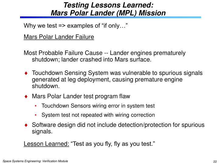 Testing Lessons Learned: