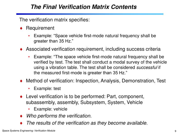 The Final Verification Matrix Contents