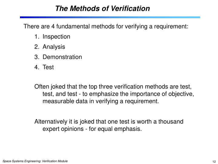 The Methods of Verification