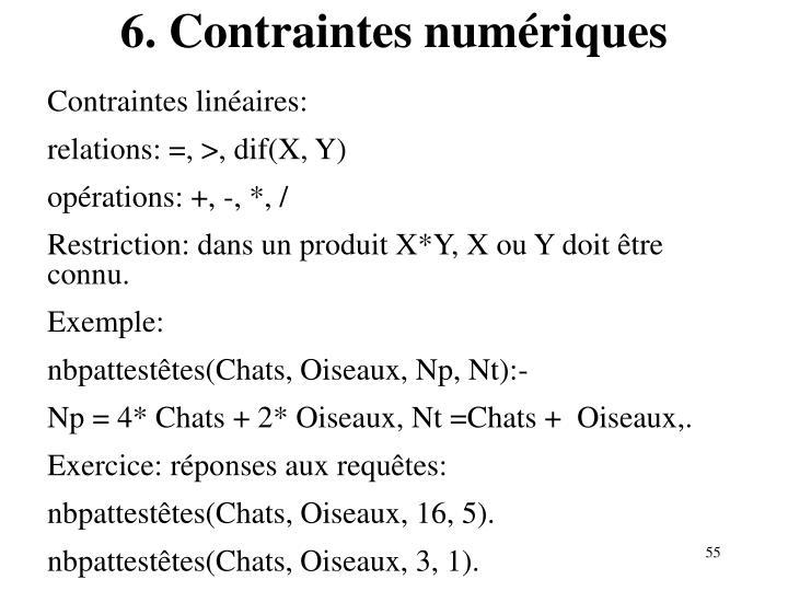 6. Contraintes numériques