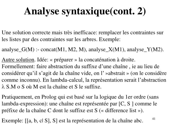 Analyse syntaxique(cont. 2)