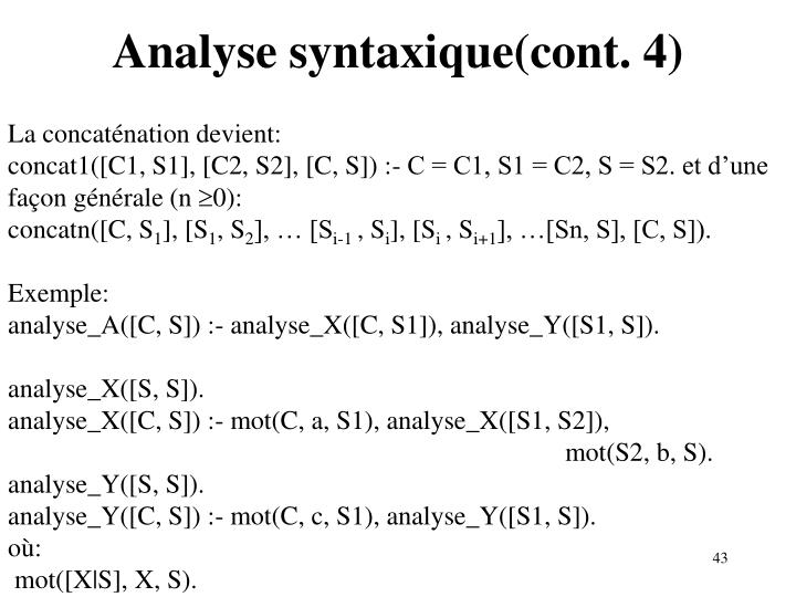 Analyse syntaxique(cont. 4)