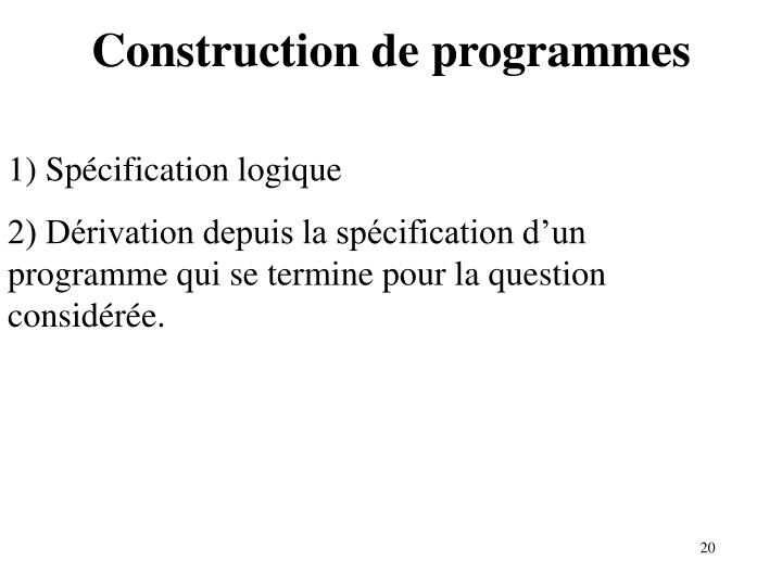 Construction de programmes